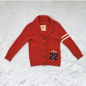 Red Hollister Letterman Cardigan Sweater